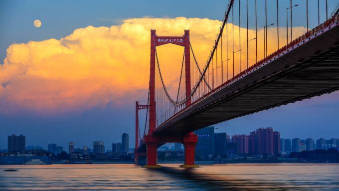 武汉网红桥 武汉鹦鹉洲长江大桥图片