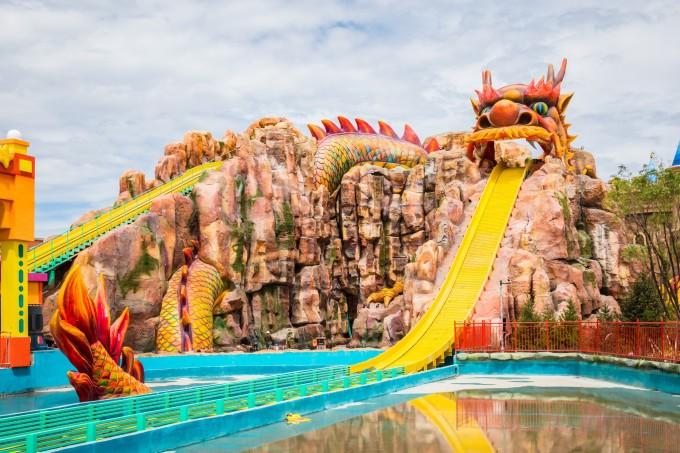—童梦王国—童梦花园—海洋广场—水上战船—童梦城堡—乐园东入口