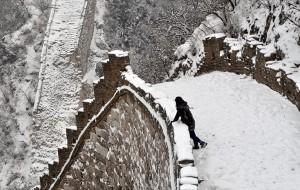 【怀柔图片】雪天爬箭扣,还真是一种挑战