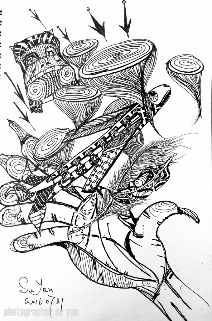 手绘串树叶素材