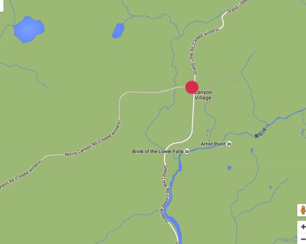 求黄石公园房车营地地图