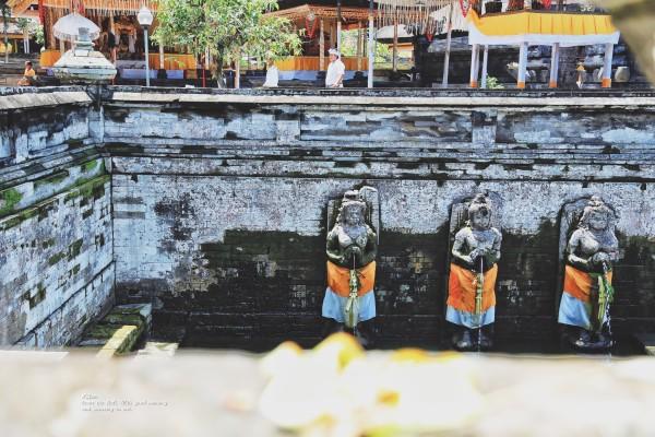 巴厘岛 游记   象窟除了洞穴外还有利用山体岩石雕塑的石像,洞内雕有