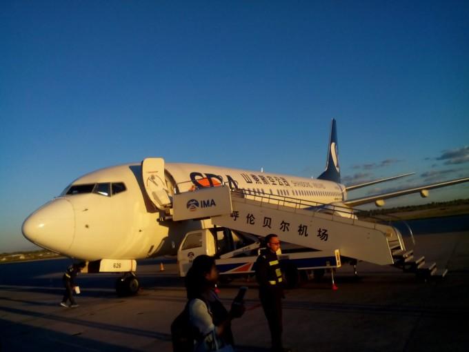 呼伦贝尔飞机场,蓝天白云是我的关注,这里的空气也太好了!